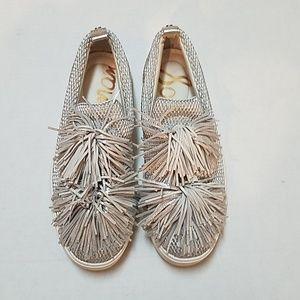 Sam Edelman Emory Metallic Pom Pom Tassel Sneakers